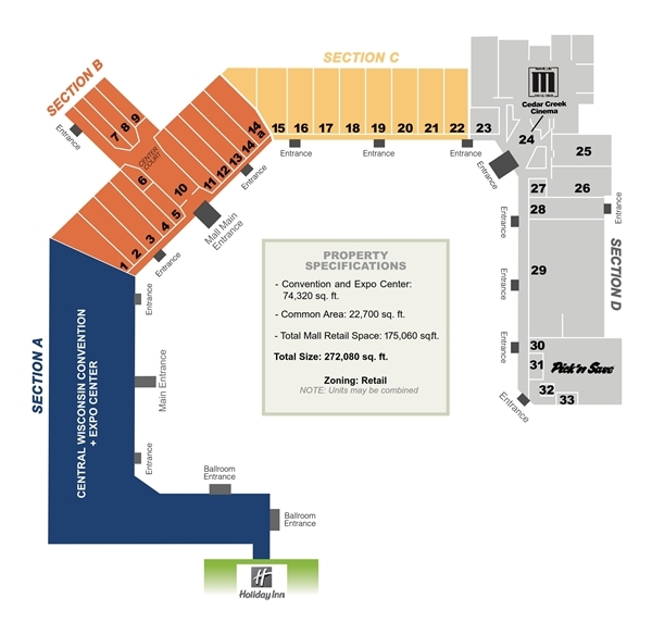 Cedar Creek Mall Store Map